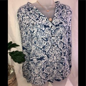 Maurices blue and white top. XS